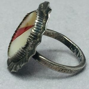Vintage Jewelry - 50s Sterling Abalone Mother of Pearl & Lucite Ring